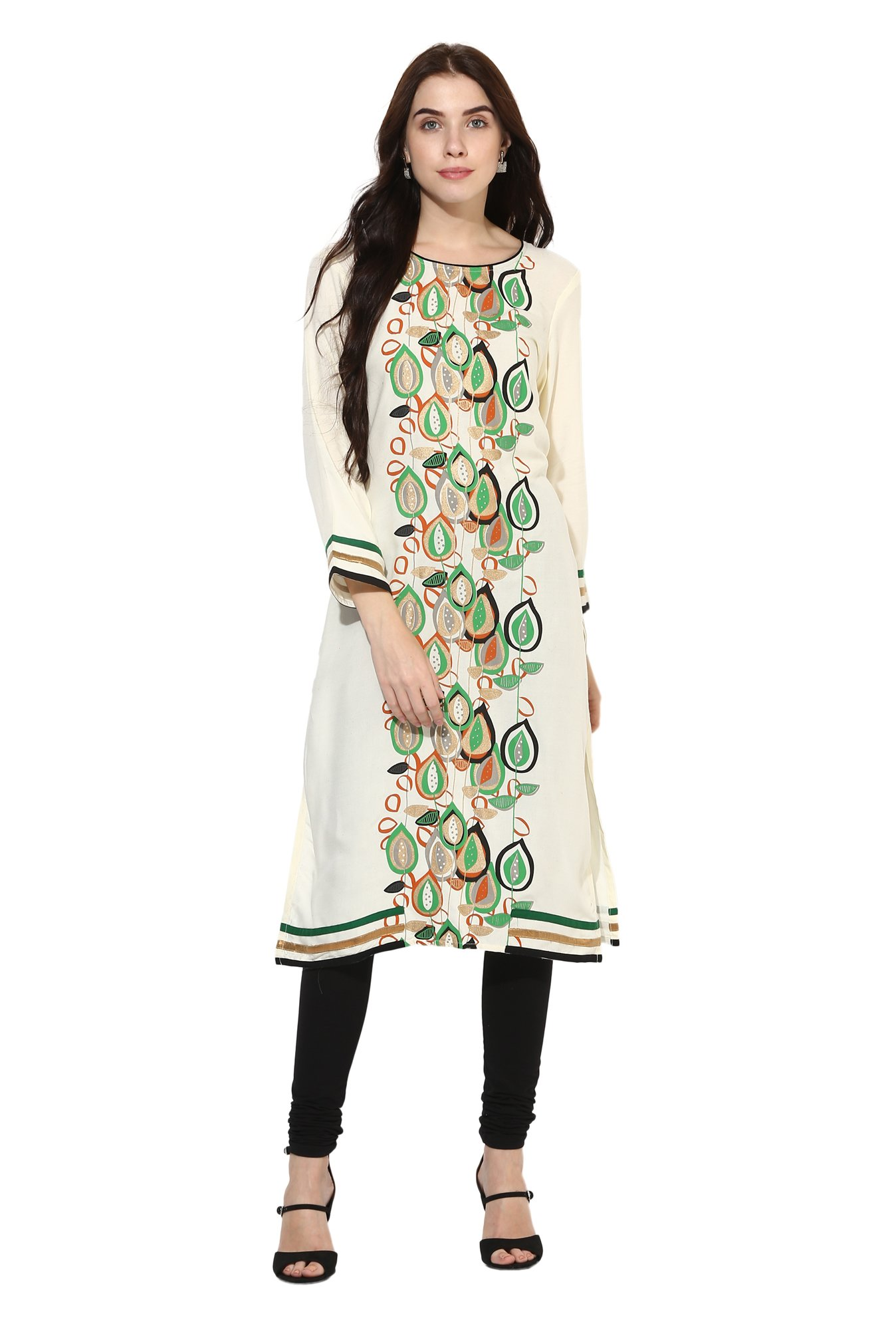 Mytri Off White Printed Rayon Straight Kurta