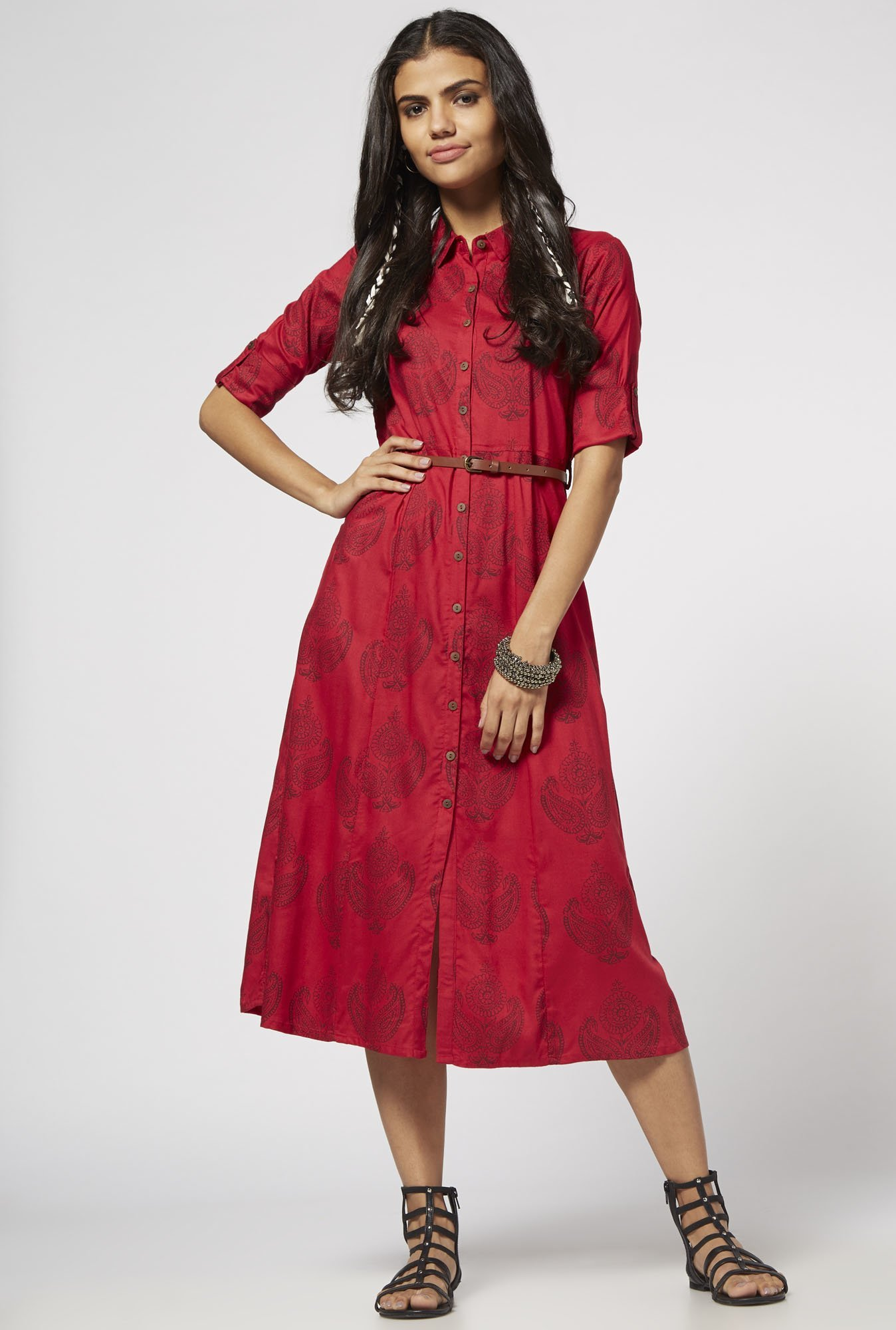 Bombay Paisley by Westside Red Dress with Belt