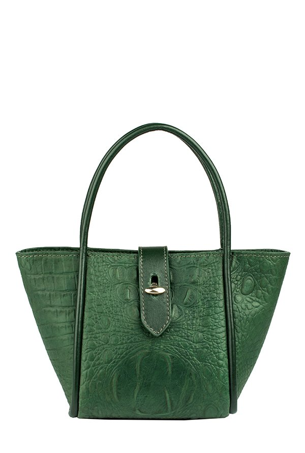 Hidesign Hermione Green Textured Leather Trapeze Handbag