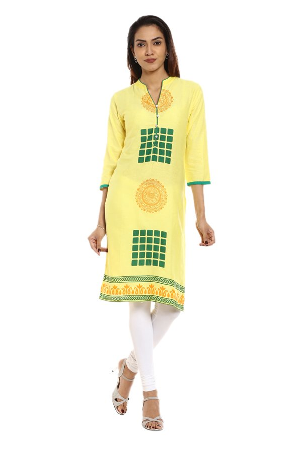 Soch Yellow Printed Cotton Kurta