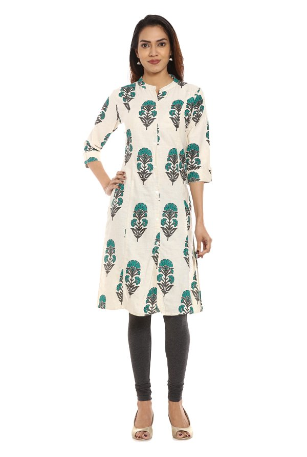 Soch Off White & Green Printed Cotton Kurta