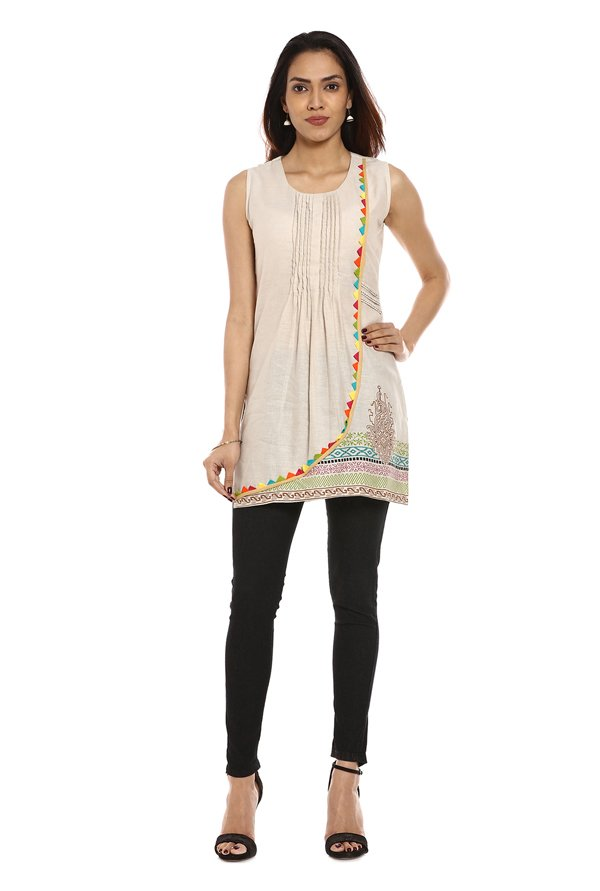 Soch Off White Printed Cotton Kurti