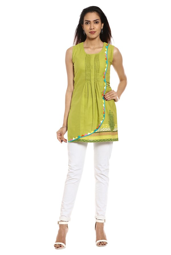 Soch Green Printed Cotton Kurti