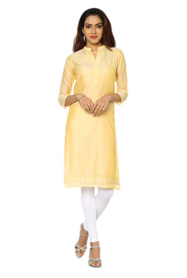 Soch Yellow Embroidered Art Silk Kurta