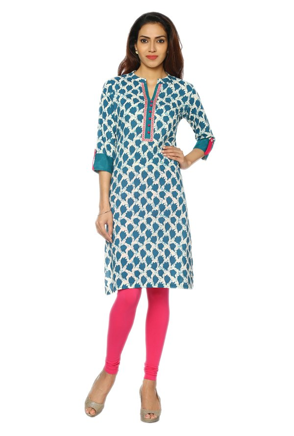 Soch Teal Printed Cotton Kurta