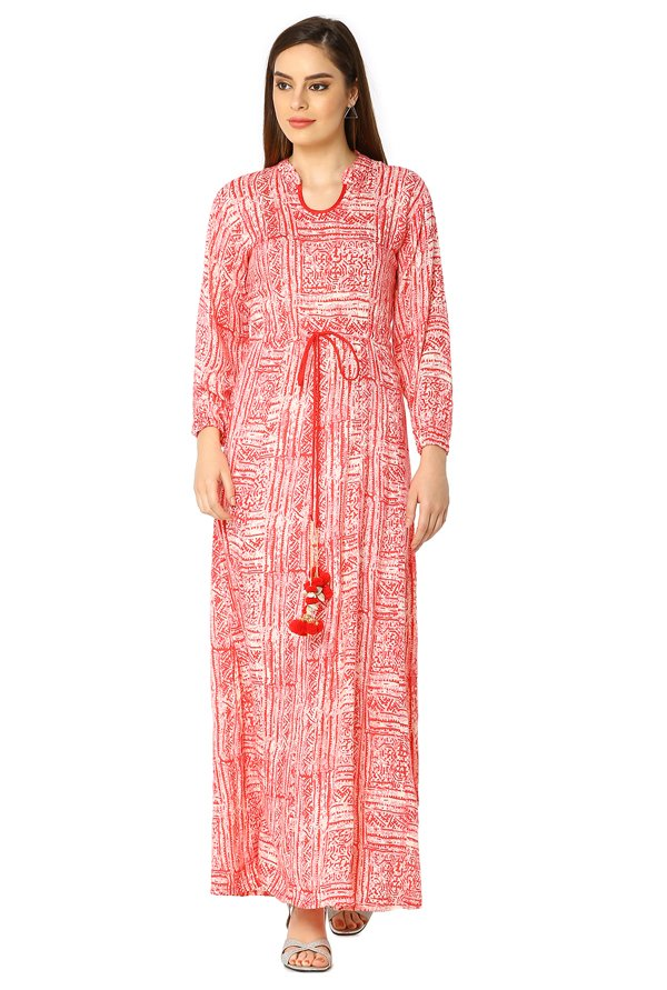 Soch Red & Off White Printed Rayon Kurta