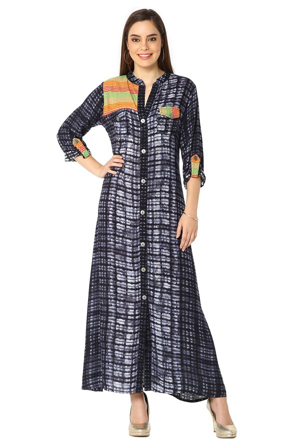 Soch Navy Embroidered Rayon Kurta