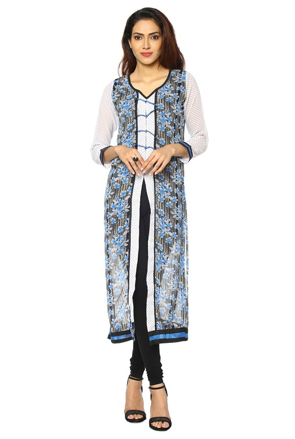Soch White & Blue Printed Georgette Kurta