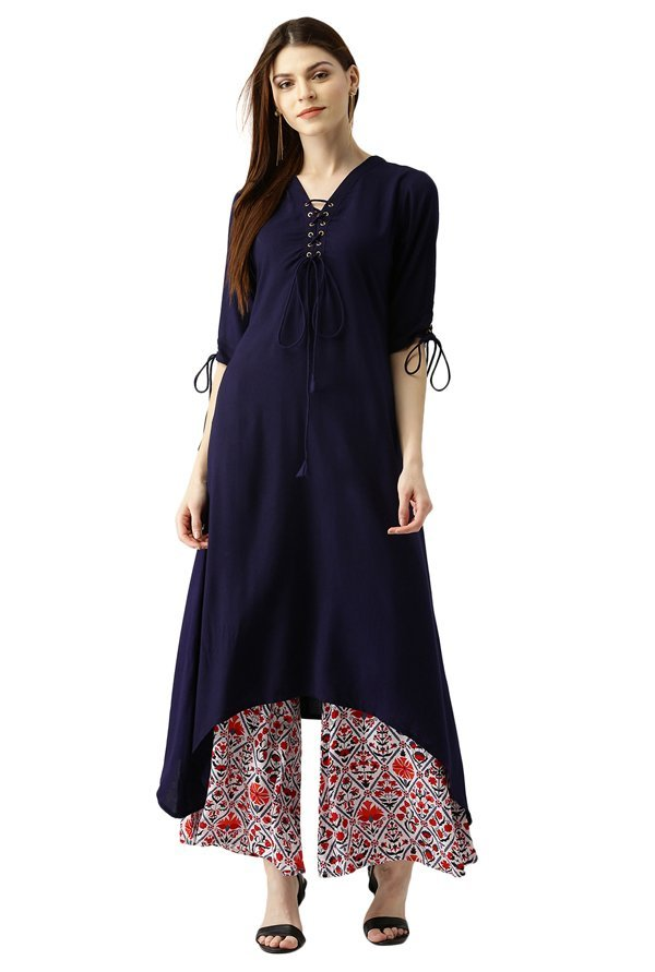 Libas Navy & Off White Rayon Kurta With Palazzo