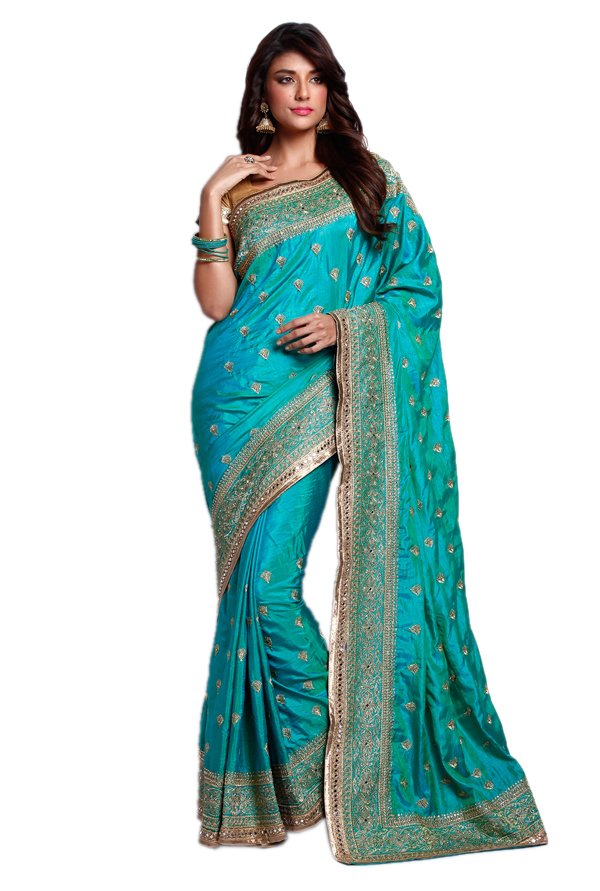 Soch Teal Embroidered Silk Saree