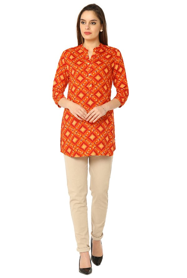Soch Orange Printed Rayon Tunic