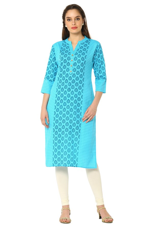 Soch Light Blue Printed Cotton Kurta