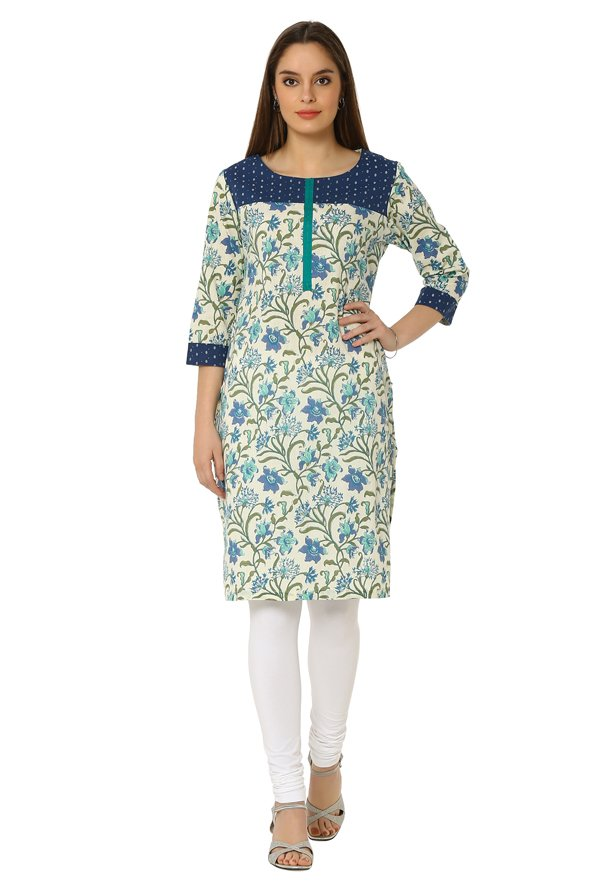 Soch Cream Floral Print Cotton Kurta