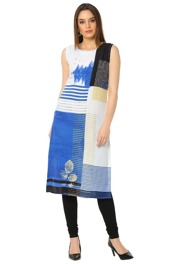 Soch Royal Blue & White Printed Rayon Kurta