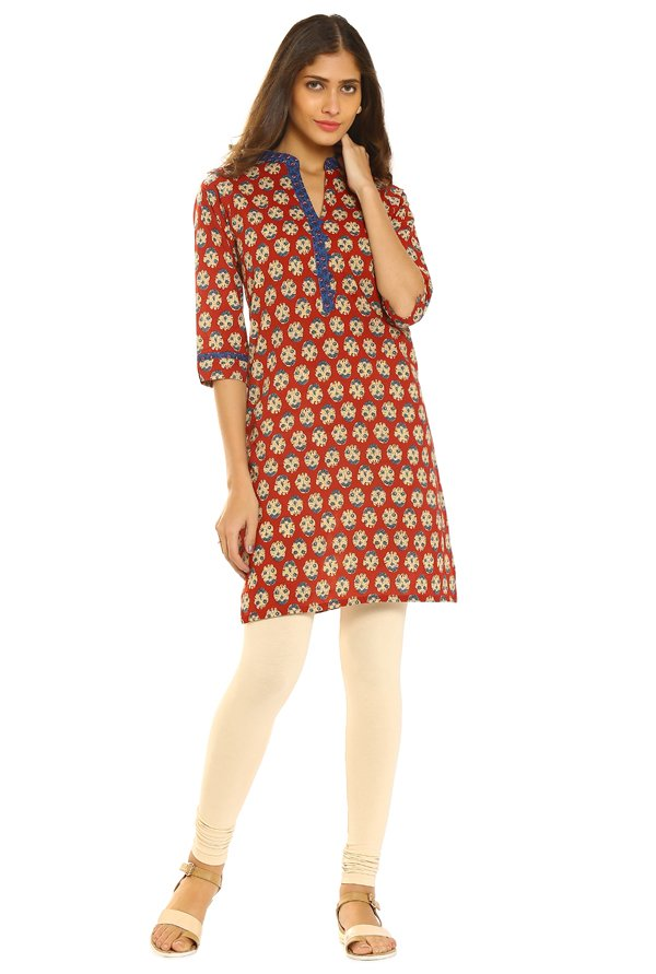 Soch Red Printed Cotton Kurti