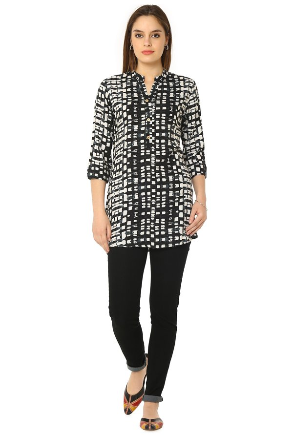 Soch Black & Cream Printed Rayon Tunic