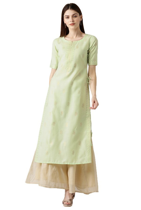 Libas Green Block Print Cotton Straight Kurta
