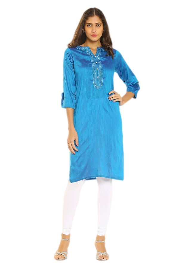 Soch Blue Embroidered Cotton Silk Kurta