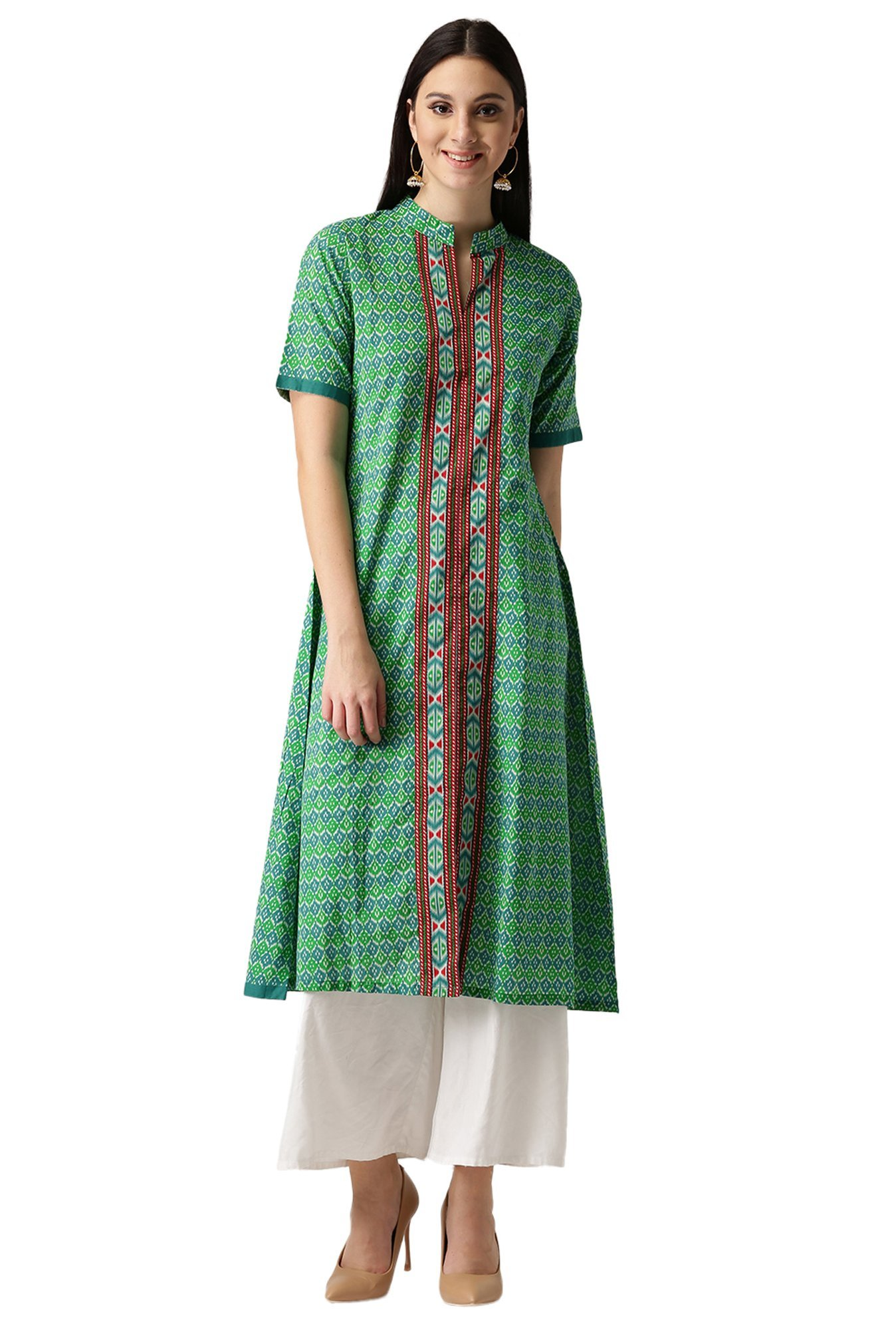 Libas Green Printed Cotton A-Line Kurta