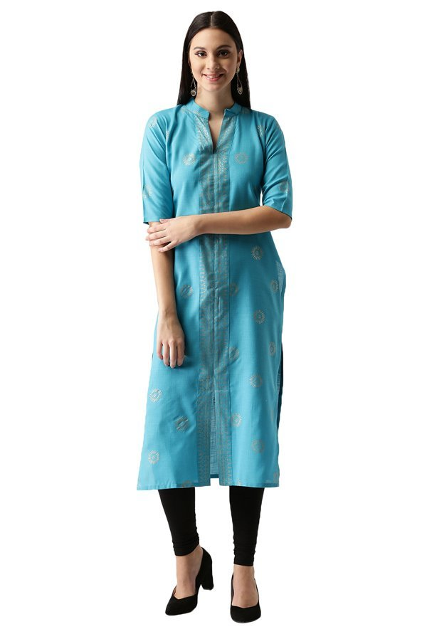Libas Blue Block Print Cotton Straight Kurta
