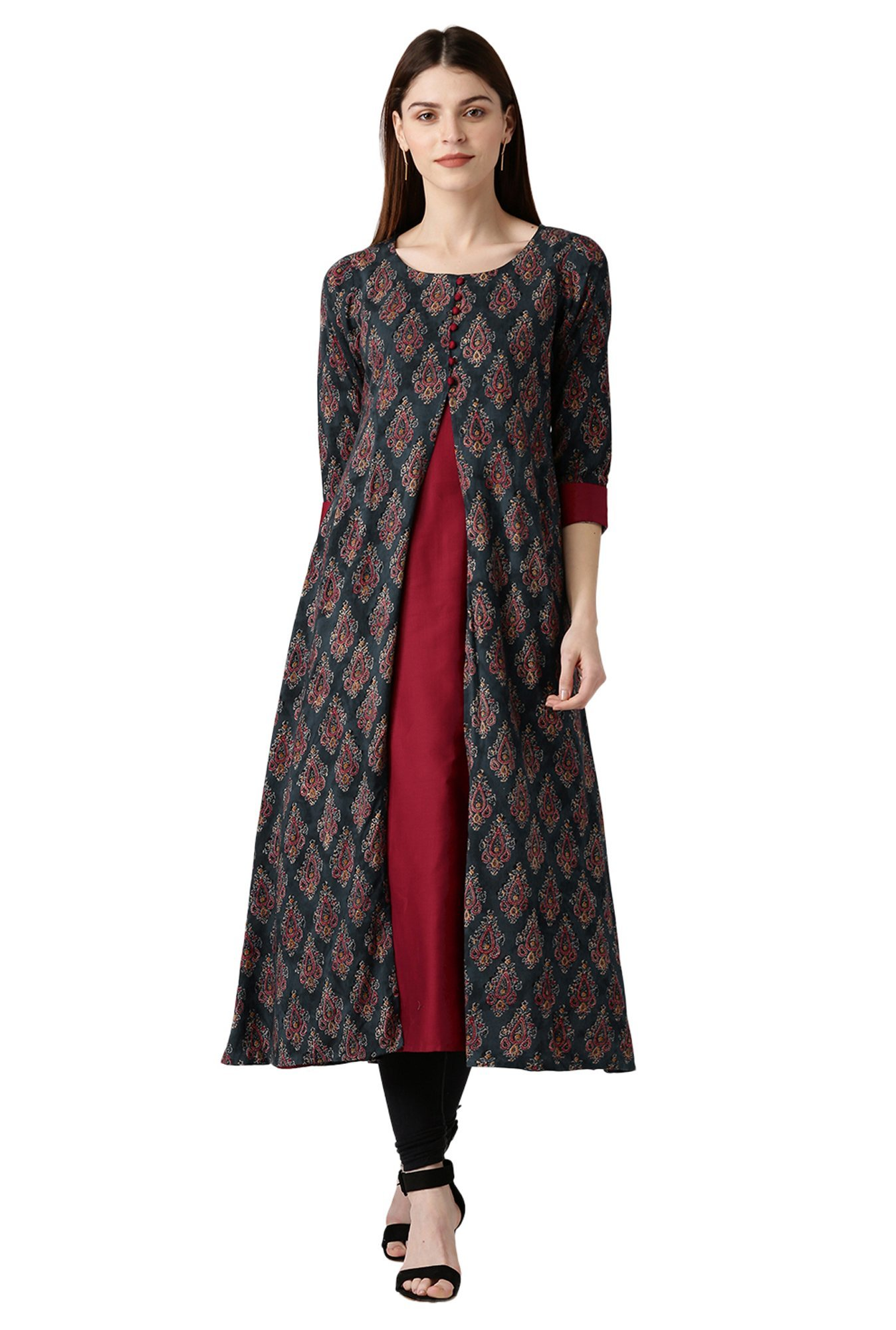 Libas Black & Maroon Printed Cotton A-Line Kurta