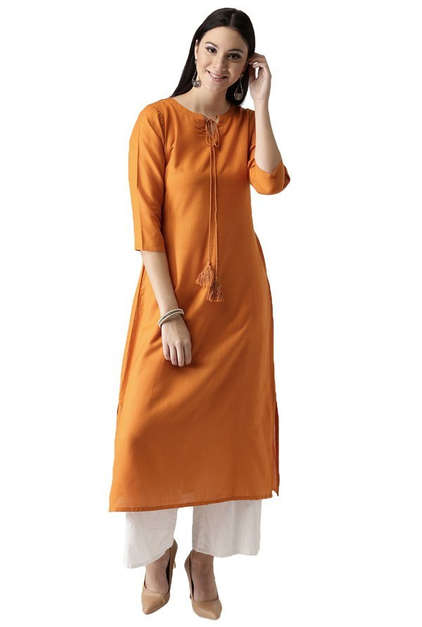 Libas Orange Regular Fit Rayon A-Line Kurta