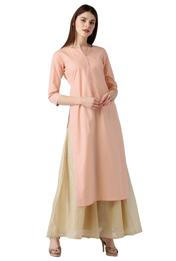 Libas Peach Printed Cotton Straight Kurta