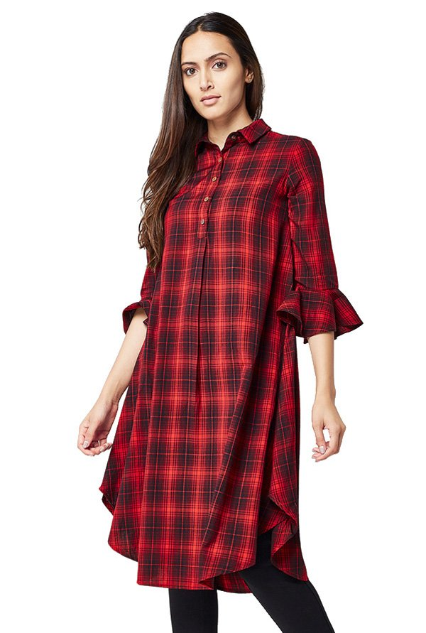 AND Red & Black Checks Tunic