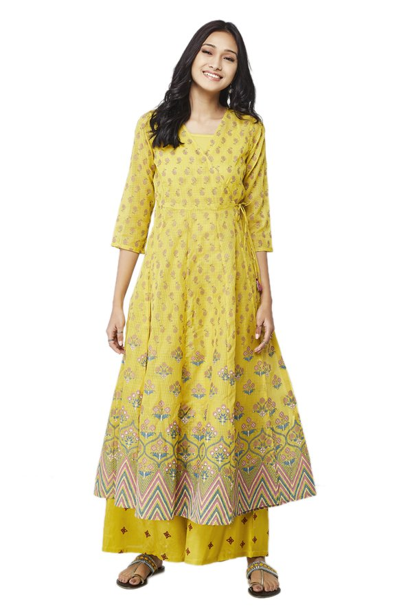 Global Desi Mustard Printed Kurta With Palazzo