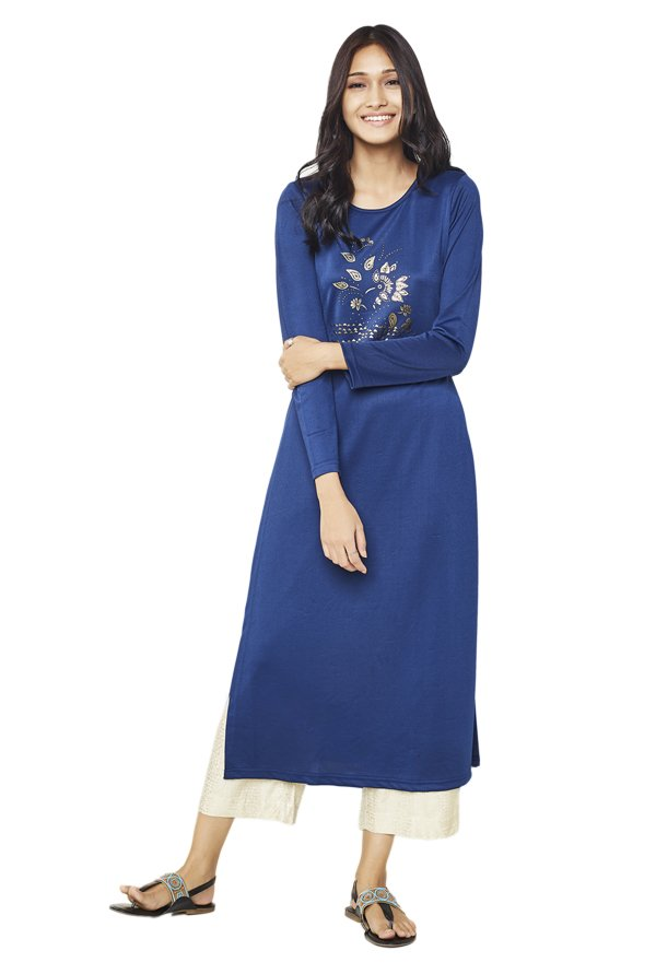 Global Desi Ink Blue Printed Polyester Kurta