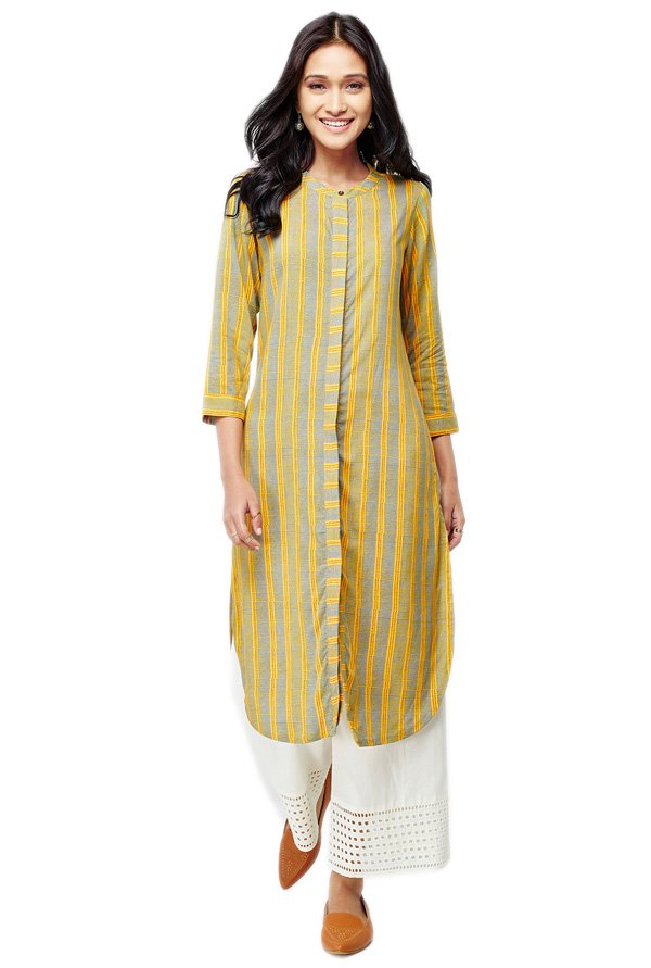 Global Desi Mustard Striped Viscose Kurta