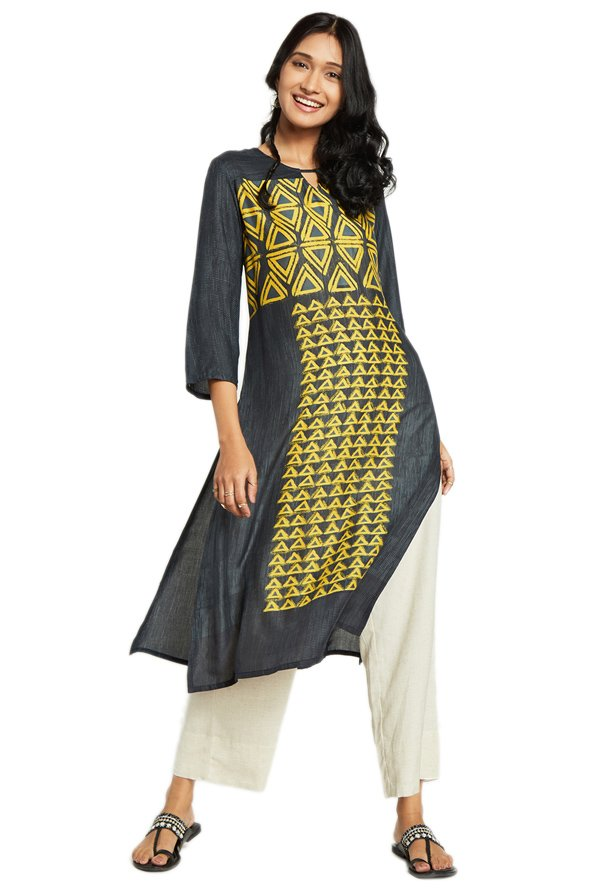 Global Desi Grey & Yellow Printed Viscose Kurta