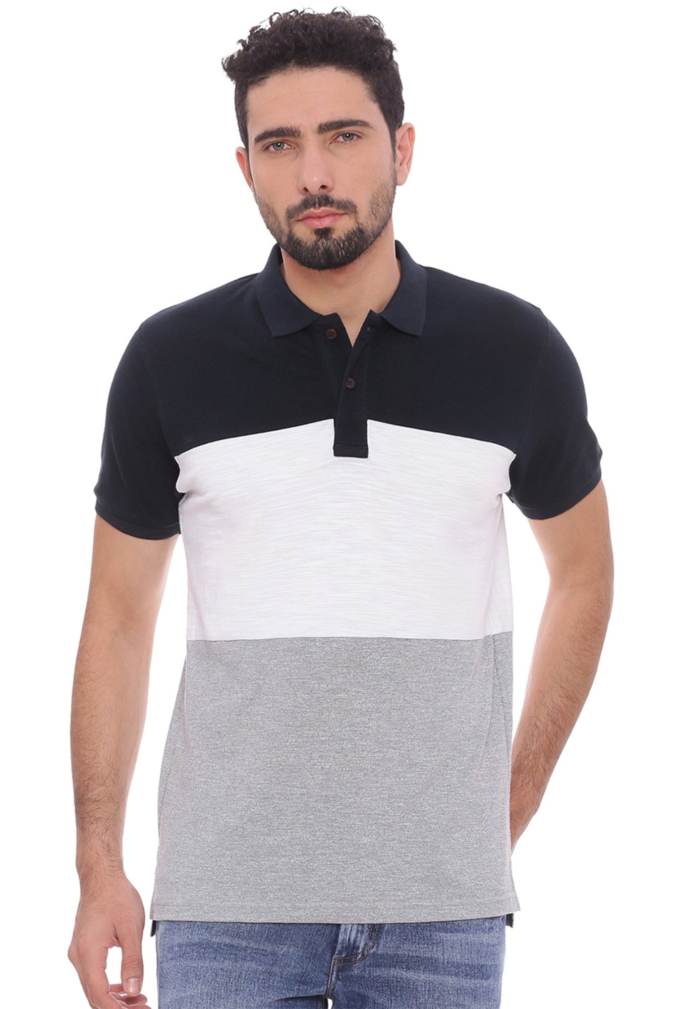 Basics Navy & White Slim Fit Polo T-Shirt