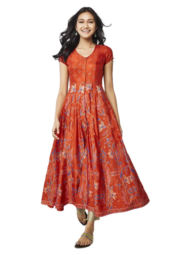 Global Desi Rust Printed Polyester Kurta