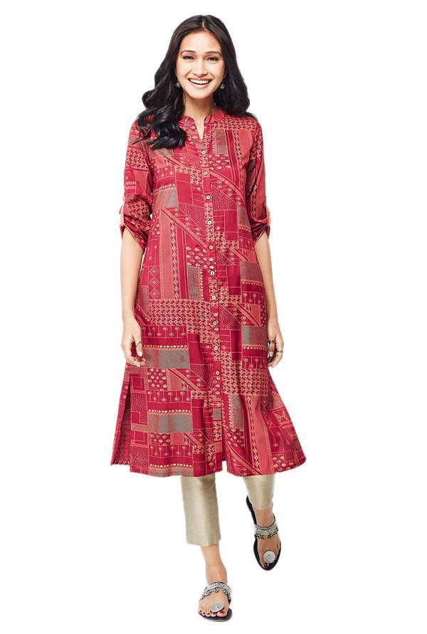 Global Desi Dark Red Printed Polyester Kurta