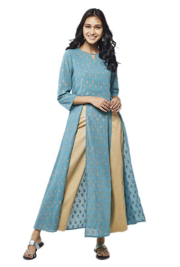 Global Desi Aqua Printed Polyester Kurta