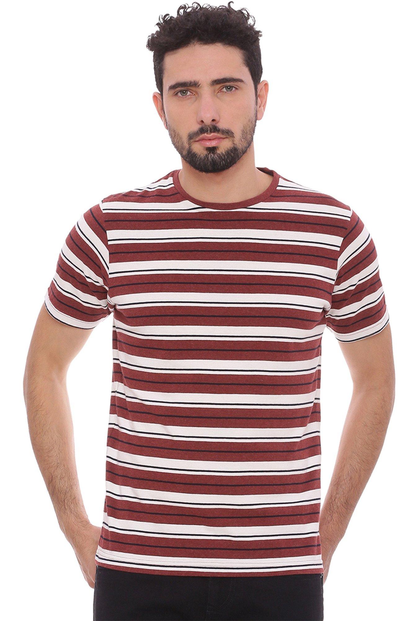 Buy basics maroon white striped t shirt for men online for Maroon t shirt for men