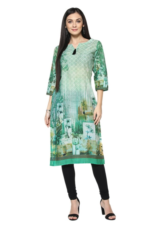 Ziyaa Green Printed Cotton Straight Kurta