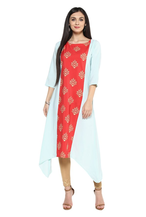 Ziyaa Blue & Red Printed Crepe Kurta