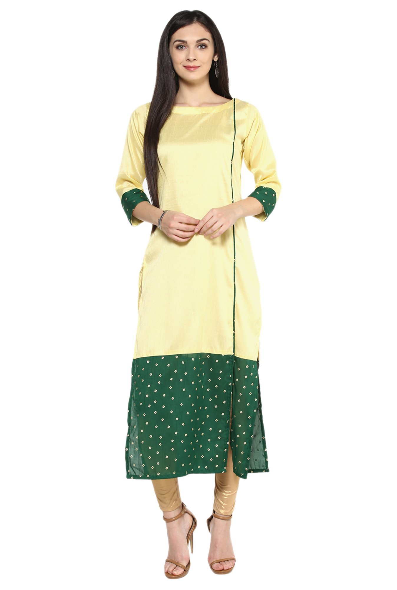 Ziyaa Yellow Bandhani Poly Silk Straight Kurta