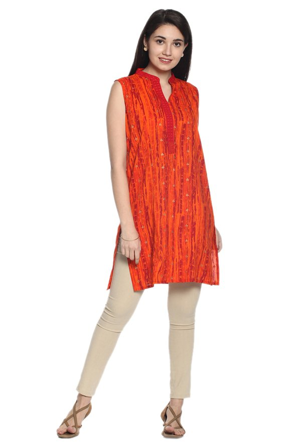 Soch Orange Printed Cotton Kurti