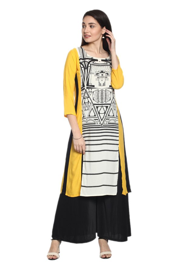 Soch White & Yellow Printed Rayon Kurta