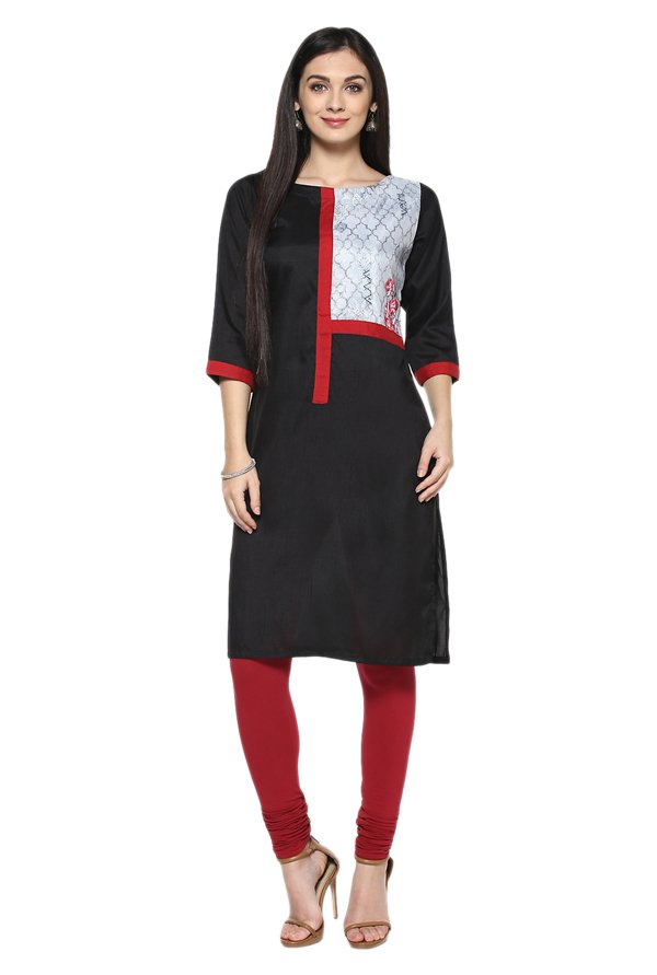 Ziyaa Black Printed Poly Silk Straight Kurta