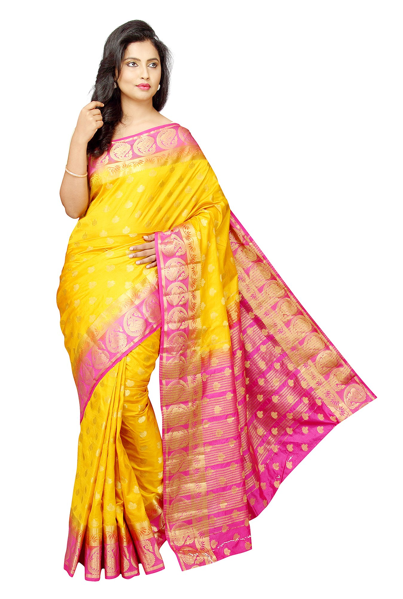 Pavecha's Yellow Printed Taffeta Saree