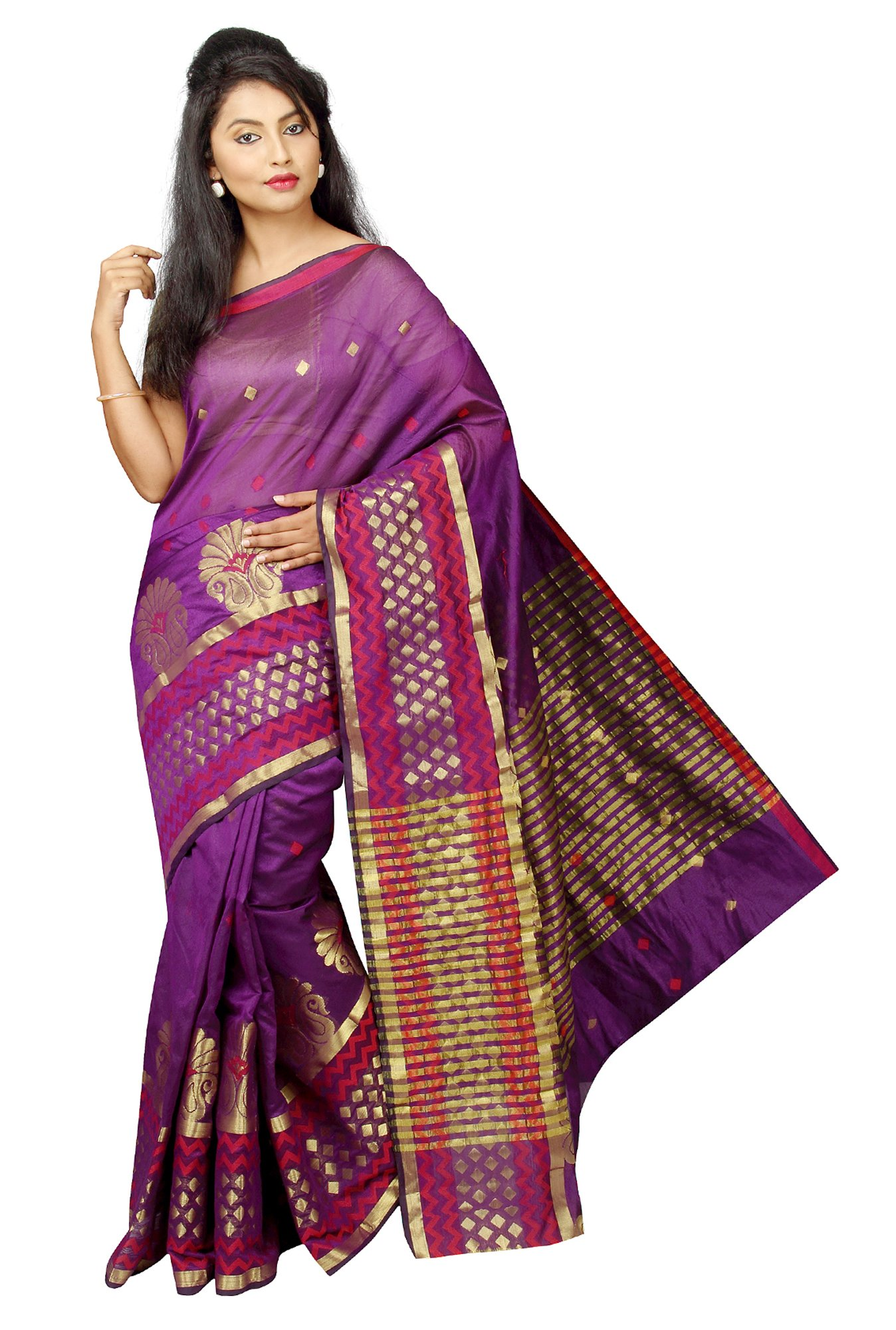 Pavecha's Purple Printed Cotton Silk Banarasi Saree