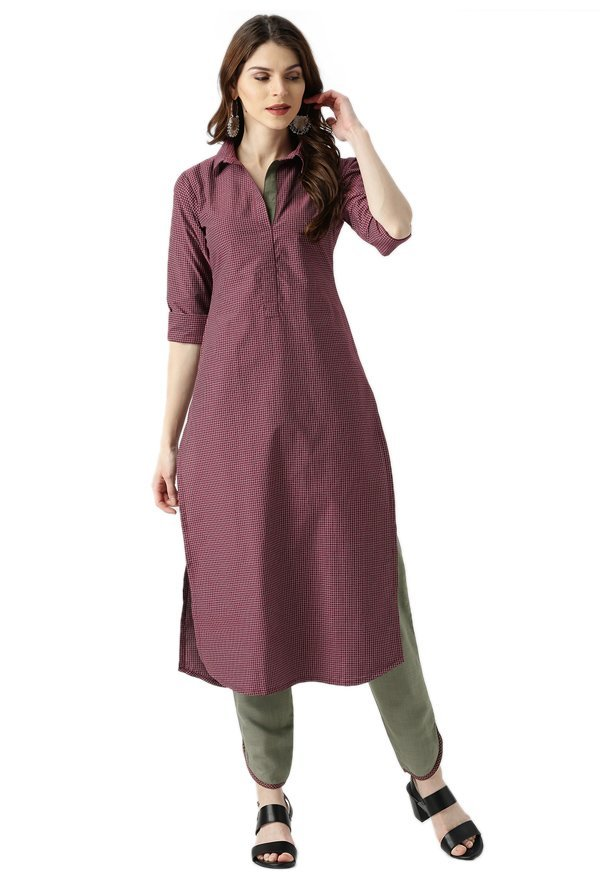 Libas Maroon & Olive Checks Kurta With Trousers