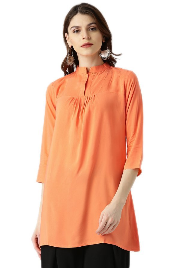 Libas Orange Regular Fit Rayon Viscose A-Line Kurti