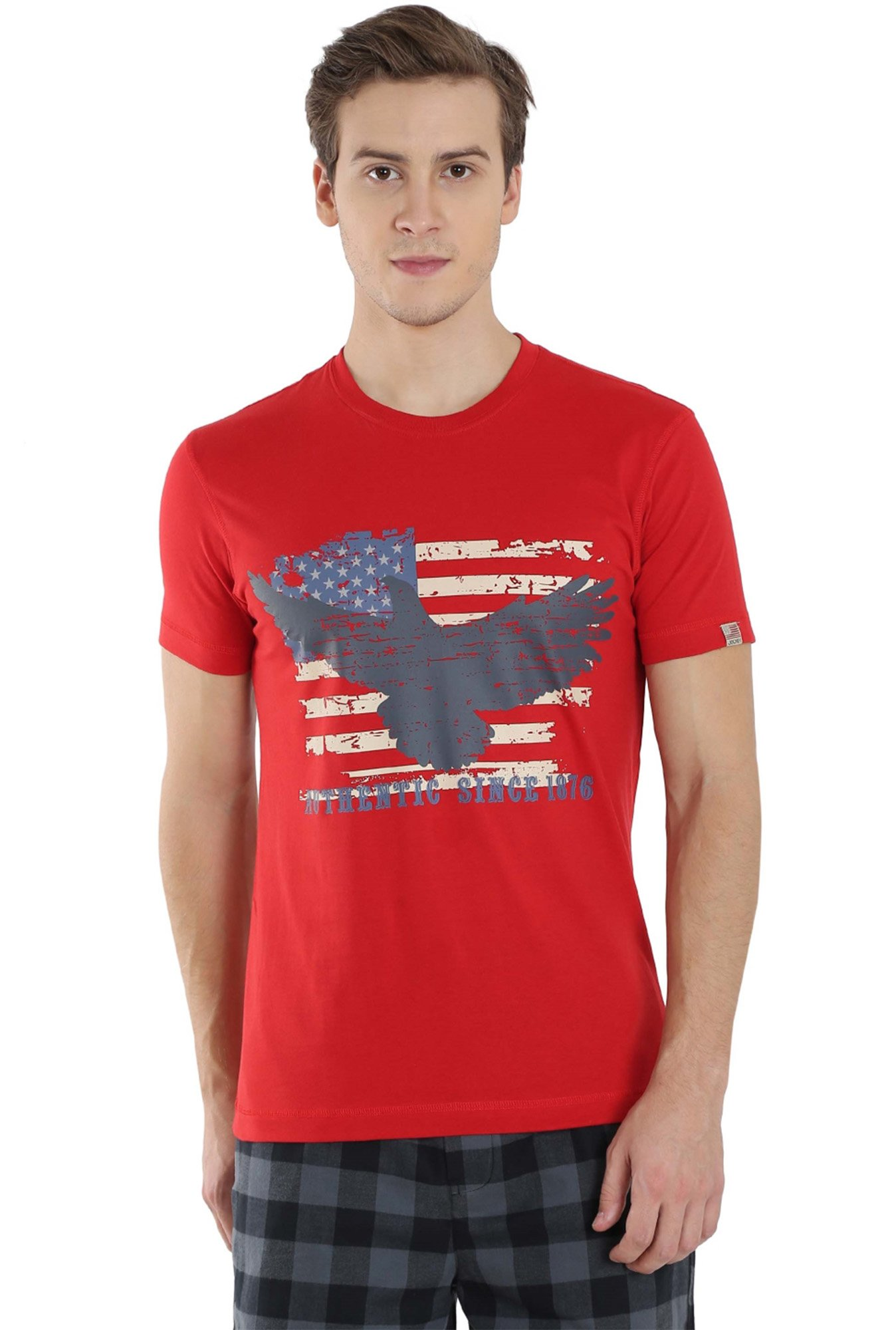 29c3f40bbab Buy Jockey Cherry Red Printed T-Shirt - US81 for Men Online @ Tata ...