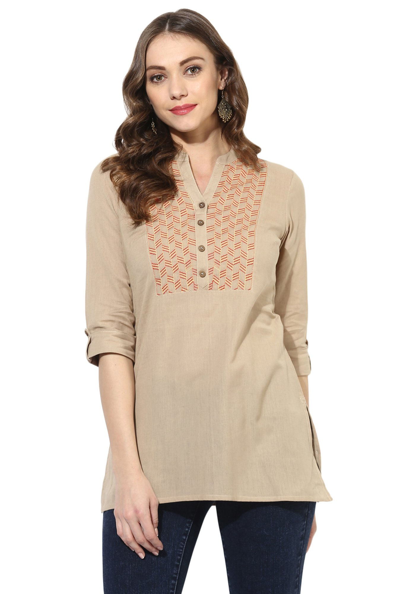 Juniper Brown Embroidered Cotton A-Line Kurti
