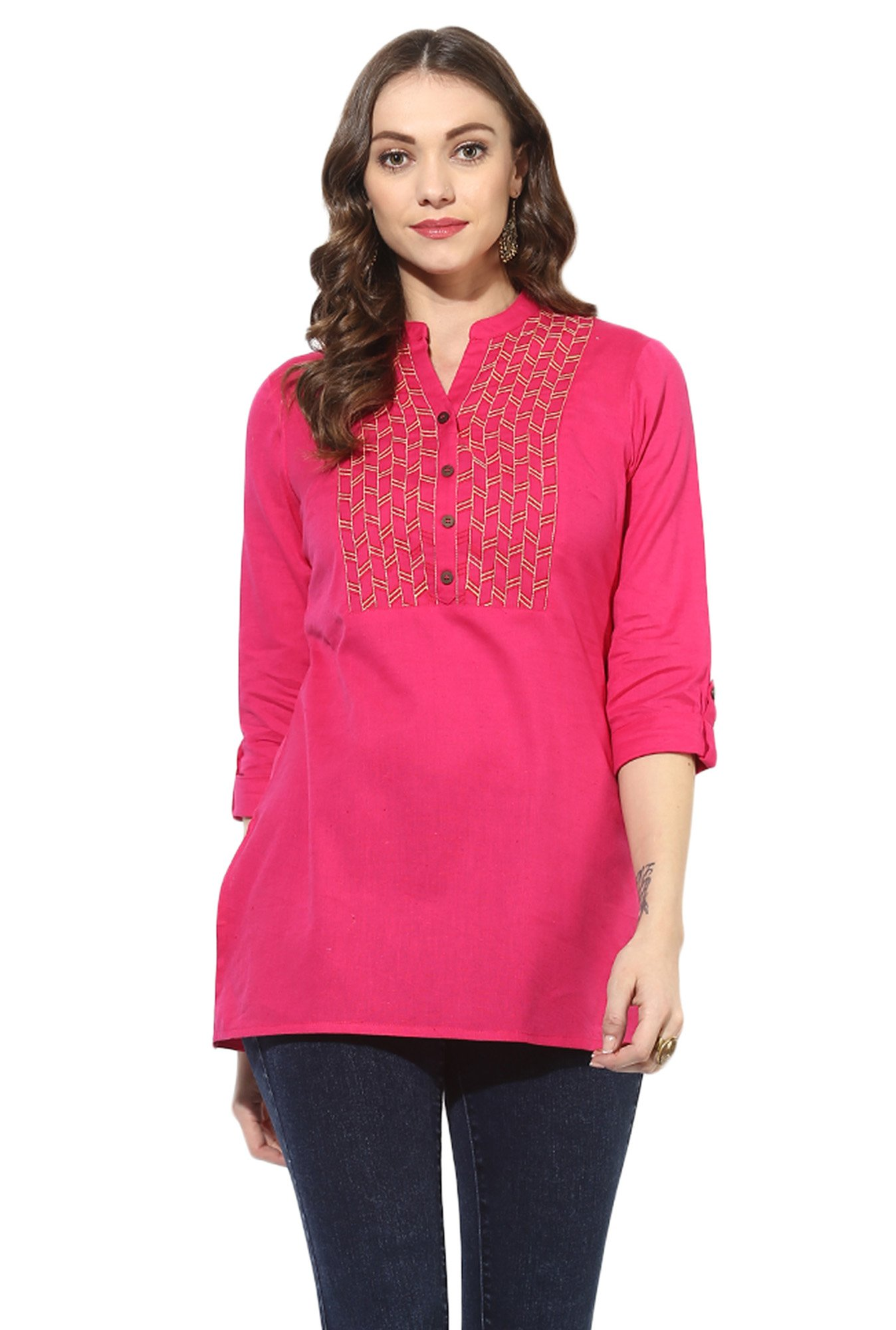 Juniper Pink Embroidered Cotton A-Line Kurti